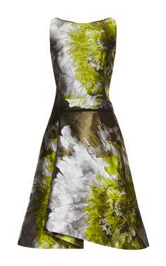 Carolina Herrera Floral Water Color Cocktail Dress