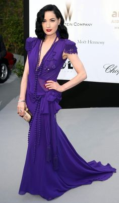 Dita Von Teese Floor Length 1930s Influenced Purple Jean Paul Gaultier Gown Epaulets Cannes 2008