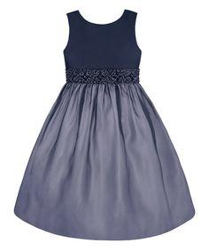 Navy Sparkle-Waist A-Line Dress - Toddler & Girls