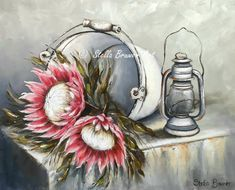 Protea Art, Protea Flower, Bull Painting, Gouache Painting, Stella Art, Fabric Paint Designs, Grey Art, Easy Paintings, Botanical Art