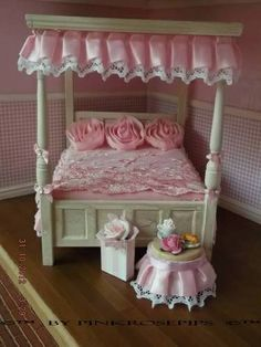 Shabby Chic Miniature Furniture | shabby chic dolls house furniture 1/12 ooak four poster bed, lace ...