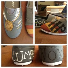 Harry Potter Painted shoes off brand toms by Forthehalibut on Etsy Painted Toms, Custom Painted Shoes, Hand Painted Shoes, Custom Shoes, Customised Shoes, Harry Potter Shoes, Harry Potter Outfits, Harry Potter Love, Yer A Wizard Harry