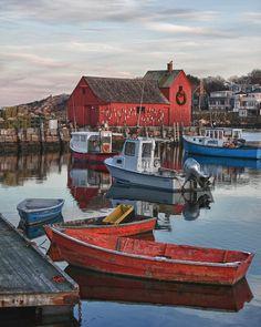 Landscape Photograph - Christmas At Motif1 Rockport Massachusetts by Jeff Folger