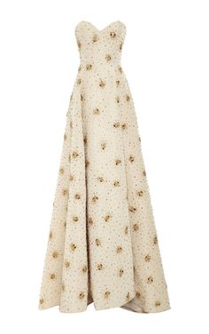 Strapless Faille Gown With Crystal Beading by  for Preorder on Moda Operandi
