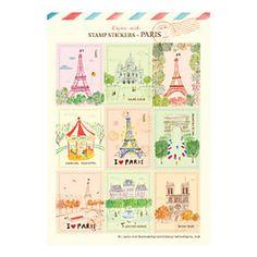 Vintage Stamp Stickers, Paris design  free shipping– USD $ 0.99