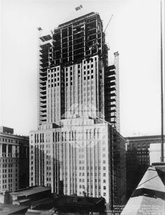 Construction of the Chicago Board of Trade Building on LaSalle and Jackson.