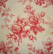 BEAUTIFUL 19thc ANTIQUE FRENCH TOILE DE JOUY, ROSES!!!