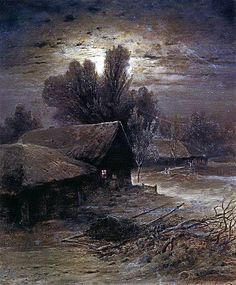 1869 Alexei Savrasov (Russian, 1830-97) ~ Winter Night; oil on canvas; 60*54 cm; private collection. Moscow  Petit: g'night, all ♥ sweetest dreams for you
