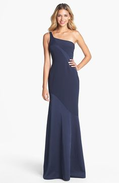 Simple, but sooooooo elegant......David Meister One Shoulder Gown available at #Nordstrom