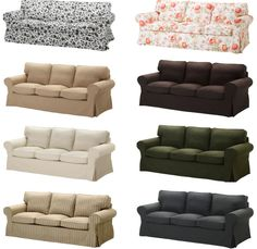 Collage of EKTORP sofas with different covers. at ikea
