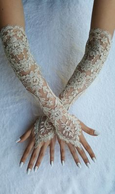 Gold Champagne lace Wedding gloves french lace by UnionTouch