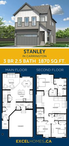 3 Bedroom Floor Plan | Stanley Home Design By Excel Homes | #floorplan #house #houseplans #home #homedesign #homebuilder #canadahome #3bedroom 3 Bedroom Home Floor Plans, Small House Floor Plans, House Plans, Basement Insulation, Concrete Driveways, Luxury Vinyl Plank, Tile Installation, Bedroom Layouts, Bedroom Flooring
