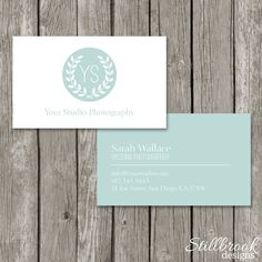 Photography Business Card Template - Simple, Modern Laurel Logo Business Card Design (Printable) - BC04