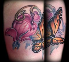 Kelly Doty - Bleeding Hearts and Monarch Butterfly Tattoo