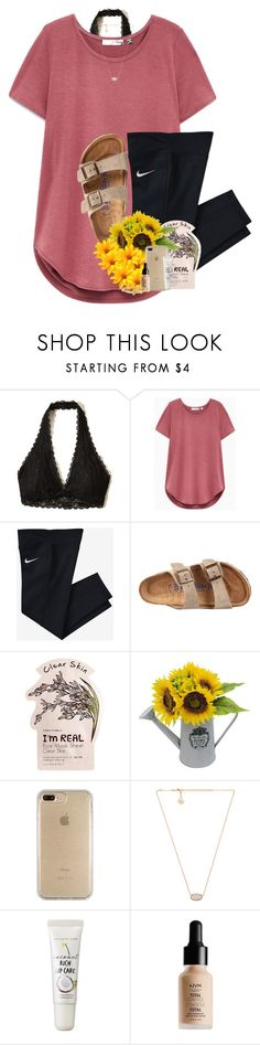 """School is stressful"" by lindonhaley ❤ liked on Polyvore featuring Hollister Co., NIKE, Birkenstock, Tony Moly, Speck, Kendra Scott, too cool for school, NYX and Kate Spade"