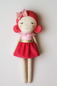Pink and coral handmade doll. Rag doll with a bow and a by blita