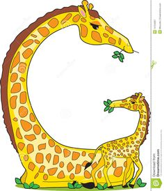A giraffe and her baby in the shape of the letter G. Stock photography by Maria Bell. Description from acclaimimages.com. I searched for this on bing.com/images