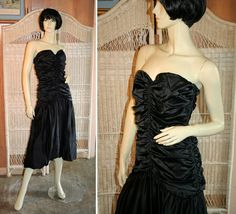 80s Silk Ruched Dress, Black Strapless Cocktail or Prom Gown from Morning Glorious