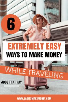 6 Extremely easy ways to Make Money while Traveling! (Amazing Tips) Want to make MONEY while traveling? Check out these awesome ideas to earn an income while traveling Make Money Traveling, Make Money Fast, Make Money Blogging, Make Money From Home, Money Tips, Make Money Online, Saving Money, Travel Jobs, Travel Money