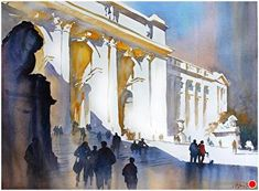 New York Public Library by Thomas W. Schaller Watercolor ~ 22 inches x 30 inches