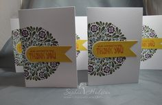 Thank you cards using Waltzingmouse Folk Art Medallion stamps