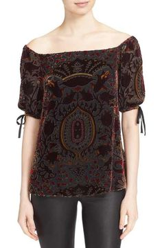 Alice + Olivia 'Alecia' Tie Sleeve Off the Shoulder Burnout Velvet Top