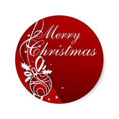 merry christmas in red by sharon sharpe classic round sticker - Merry Christmas Stickers