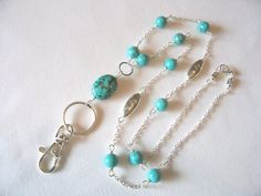 Beaded ID lanyard badge holder with turquoise beaded lanyard June trends summer office fashion Charm Jewelry, Diy Jewelry, Beaded Jewelry, Handmade Jewelry, Jewelry Design, Jewelry Making, Bohemian Jewellery, Beaded Lanyards, Diffuser Jewelry