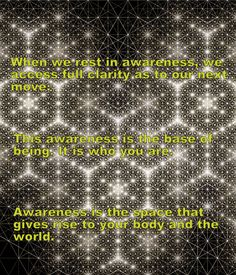 Awareness is the space, that gives rise to your body and the world.