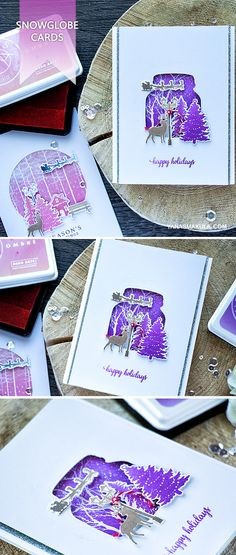 Create beautiful ombre snowglobe cards with Hero Arts October 2016 My Monthly Hero Kit and various add-ons. For details visit http://www.yanasmakula.com/?p=55380