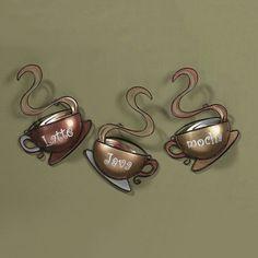 Coffee House Cup Mugs Set of 3 Latte Java Mocha Metal Wall Art Home Decor US for sale online Kitchen Decor Signs, Rustic Kitchen Decor, Kitchen Decor Themes, Home Decor, Kitchen Ideas, Kitchen Pictures, Kitchen Stuff, Metal Wall Decor, Hanging Wall Art