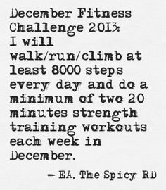 My 2013 December Fitness Challenge // The Spicy RD #DecFit #Fitness