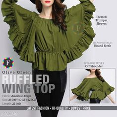 Checkout this latest Tops & Tunics Product Name: *Wing Top* Fabric: Crepe Sleeve Length: Three-Quarter Sleeves Pattern: Solid Multipack: 1 Sizes: L, XL Country of Origin: India Easy Returns Available In Case Of Any Issue   Catalog Rating: ★4.1 (1713)  Catalog Name: Wing Top Vol 3 CatalogID_41075 C79-SC1020 Code: 893-382049-1101