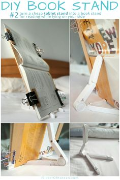 DIY book holder for reading on your side in bed Book Stand For Reading, Diy Book Stand, Diy Book Holder, Wooden Book Stand, Book Holder Stand, Wooden Books, Book Stands, Wooden Art, I Like Myself Book