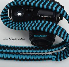 DSLR Handmade Paracord Camera Strap Trilobite Bar Weave by RainyDayzArt Paracord Camera Strap, Dslr Camera Straps, Camera Gear, Line Camera, Canon, E 500, Black Sapphire, Purple Teal, Camera Accessories