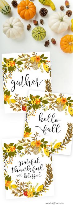 """Gorgeous 3-pack of printable fall art! Choose from """"Hello Fall"""", """"Gather"""" or """"Thankful, Grateful and Blessed"""""""