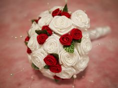 Handmade red and white wedding bouquet
