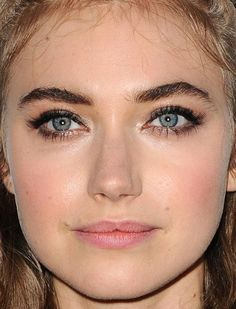 Close-up of Imogen Poots at the 2015 premiere of 'She's Funny That Way'. http://beautyeditor.ca/2015/08/24/best-beauty-looks-kristen-stewart