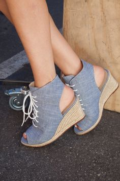 We're all about Chambray espadrille wedges.