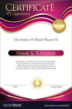 Certificate or diploma template Royalty Free Vector Image Certificate Of Recognition Template, Certificate Layout, Blank Certificate Template, Certificate Border, Certificate Background, Certificate Of Achievement Template, Award Certificates, Birthday Tarpaulin Design, Frame Border Design