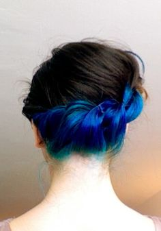 pretty blue panel of hair. twisted updo.