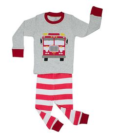 Look at this Gray & Red Stripe Fire Truck Pajama Set - Toddler & Boys on #zulily today!