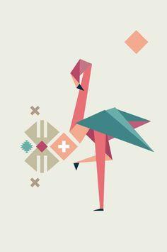 Flamingo Print, Boho Nursery Decor, Geometric Poster, Origami Animal Print…