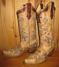 Rivertrail Mercantile - Corral Antique Saddle Cross Boots R1017, $270.00 (http://www.rivertrailmercantile.com/corral-antique-saddle-cross-boots-r1017/)