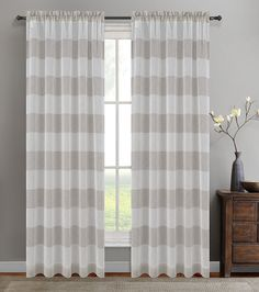 Urbanest 54-inch by 63-inch Set of 2 Nassau Faux Linen Sheer Striped Curtain Panels, Oyster -- Find out more about the great product at the image link. (This is an affiliate link) #WindowTreatments