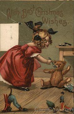 """With Best Christmas Wishes"" Girl Teddy Bear Toys Artist Grenier Postcard Red Teddy Bear, Teddy Bear Toys, Vintage Christmas Images, Antique Christmas, Vintage Greeting Cards, Vintage Postcards, Best Christmas Wishes, Antique Teddy Bears, Christmas Toys"