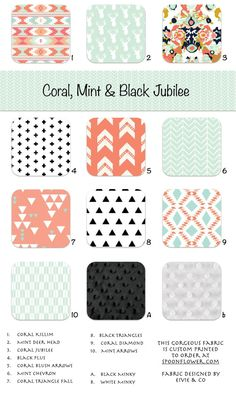 Coral Mint Black Jubilee Crib and Toddler Bedding by ColorCornerShop, Triangles Plus Modern Bedding Custom Bedding Pillows Crib Skirts Crib Blanket Toddler Blanket Changing Pad Covers Crib Sheet