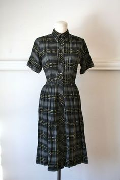 vintage 50s plaid dress  DOTTED LINE kerry brooke wool by MsTips, $54.00