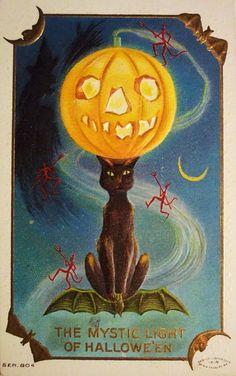 Vintage halloween poster - mystic light