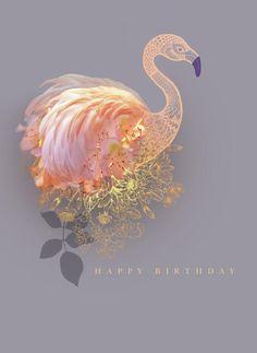 Lara Skinner Gold Flamingo - Happy Birthday